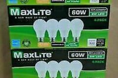 Liquidation/Wholesale Lot: 4 Packs MaxLite E60 Watt ,Soft White, Dimmable, A19 LED Light Bu
