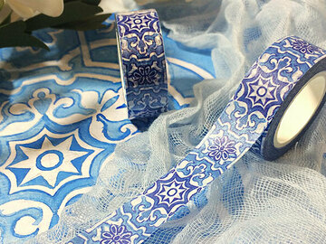 : Print from my hand-painted Watercolor Blue Pattern Washi Tape