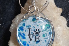 Selling: Fuzzy paws necklace | Stone Wrapped with Silver Wire