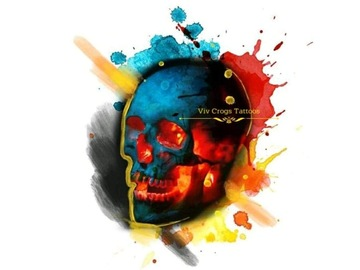 Tattoo design: Small Skull (blue, red, yellow)