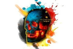 Tattoo design: Small Skull (blue, red, yellow)