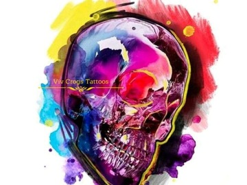 Tattoo design: Large Skull (Pink and Purple)