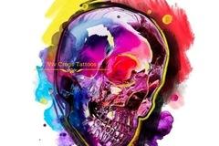 Tattoo design: Large Skull (Pink and Purple)