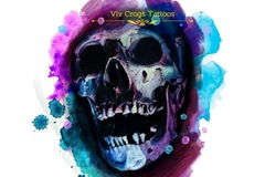 Tattoo design: Open Mouthed Purple and Blue Skull