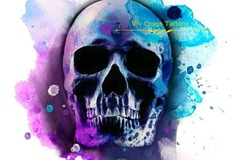 Tattoo design: Closed Mouth Blue and Purple Skull