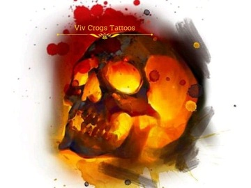 Tattoo design: Orange and Red Skull