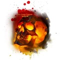 Tattoo design: Orange and Red Skull