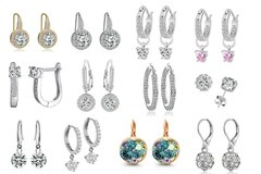 Liquidation/Wholesale Lot: 25 Pair Earrings made w/ Swarovski Elements - Sale 2 days Only