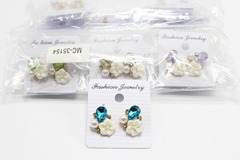 Liquidation/Wholesale Lot: Dozen New Rhinestone Flower Post Earrings MC35154-12