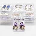 Liquidation/Wholesale Lot: Dozen New Rhinestone Flower Post Earrings MC34666-12