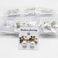 Liquidation/Wholesale Lot: Dozen New Rhinestone Flower Post Earrings MC35146-12