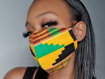 For Sale: Handmade Cotton Yellow  Kente Face Mask