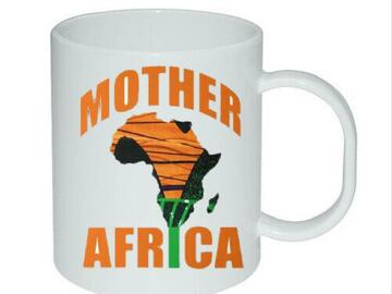 For Sale: Personalised Heat Printed Mugs African Fabric