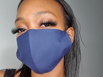 For Sale: Handmade Navy Cotton Face Mask
