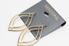 Liquidation/Wholesale Lot: Dozen Massini Gold Dangle Earrings $120 Value