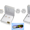 Liquidation/Wholesale Lot: Buy 2 Get 1 Free ! - 20 Pair CZ Earrings in Beautiful Gift Box