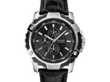 For Sale: Guess Fiber Men's Watch Leather Band Black For Sale Only $99