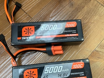 Selling: 2 Spektrum 4s 5000mah smart batteries