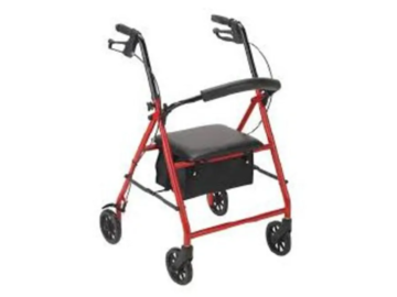 SALE: 4 Wheel Adjustable Rollator with Steel Frame in Red