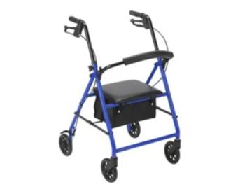 SALE: 4 Wheel Adjustable Rollator with Steel Frame in Blue