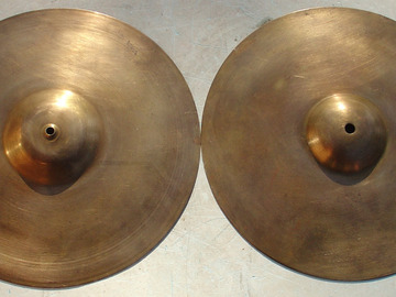 "Selling with online payment: Vintage pair of brass 12"" high hat cymbals 580 + 810 grams"