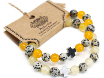 Selling: 2 x Protection - Dalmatian Jasper & Yellow Agate