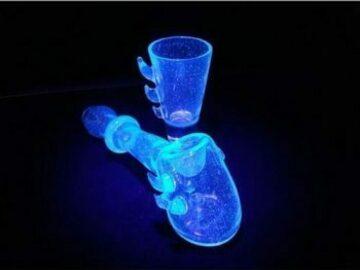 Post Now: Hand Blown UV-Reactive Hammer Bubbler & Shot Glass Set