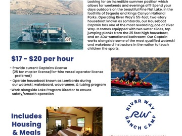 Requesting: NOW HIRING A HOUSEBOAT CAPTAIN
