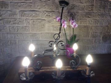 Offre: Lustre chêne et fer forgé - 6 lampes