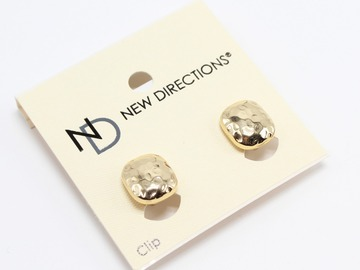 Liquidation / Lot de gros: Dozen New Directions Gold Hammered Clip On Earrings