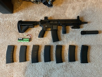 Selling: Umarex HK 416 CQB elite with suppressor and mags