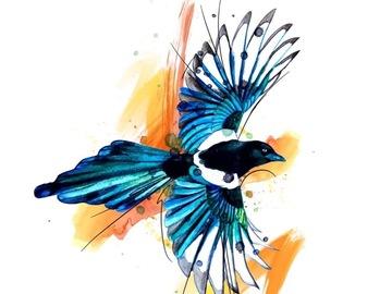 Tattoo design: Watercolour Magpie
