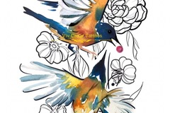 Tattoo design: Two Watercolour Birds and Illustrative Flowers