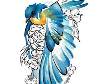 Tattoo design: Watercolour Bird and Illustrative Design 1