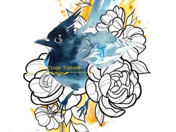 Tattoo design: Water Colour Bird and Illustrative Design 2