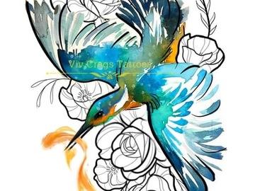 Tattoo design: Water Colour Bird and Illustrative Design 3