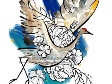 Tattoo design: Water Colour Bird and Illustrative Design 4