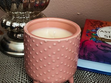 Selling with online payment: Strawberry Champagne Soy Candle in Peach Pedestal Vessel