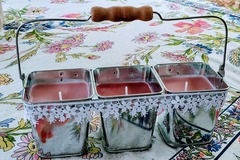 Selling with online payment: Cinnamon Vanilla & Strawberry Plum Candles in Cottagecore Metal P