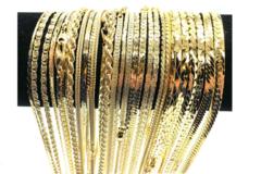 Liquidation/Wholesale Lot: 100 Piece XTRA FANCY Chain Assortment 14 KT Gold overlay Made USA