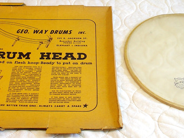 VIP Members' Sales Only: ULTRA RARE 1950s George Way snare side calf head & box