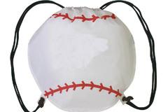 Liquidation/Wholesale Lot: Baseball Vinyl Drawstring Cinch Backpack – Minor Blemishes