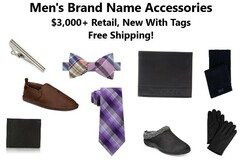 Liquidation/Wholesale Lot: Men's Brand Name Accessories, Wallets, Socks & More, Ships Free!