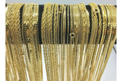 Liquidation/Wholesale Lot: 50 Piece Chain Assortment 14 KT Gold Finish MADE IN USA