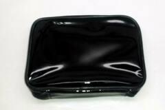 Liquidation/Wholesale Lot: Black Vinyl Zippered Waterproof Cosmetic Or Toiletry Bag It1303m#