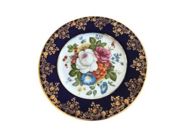 Vente: Assiette décor floral dorée