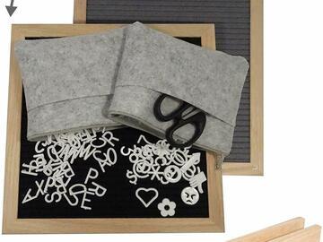 "Liquidation / Lot de gros: Black & Gray Felt Letter Board 10""x10"" Lot of 10"