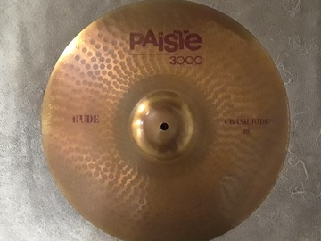 "Selling with online payment: Paiste 3000 RUDE 18"" CRASH/RIDE Cymbal"