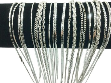 Liquidación / Lote Mayorista: 100 Piece Chain Assortment Sterling Silver Finish MADE IN USA