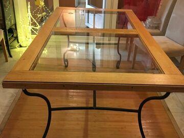 Vente: Belle table chêne verre et fer forgé